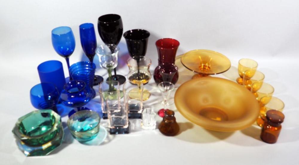 Assorted Glass Qty 27 Cobalt Green Red Gold Bowls Pedestal