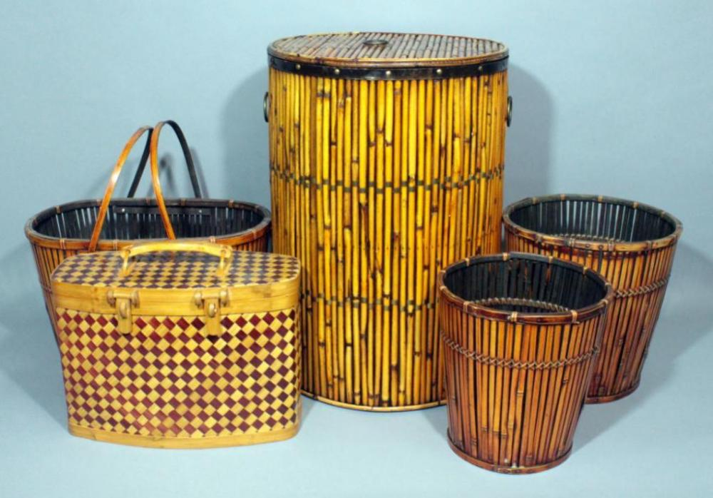 Wicker Trash Cans Baskets And Clothes Hamper Total Qty 5