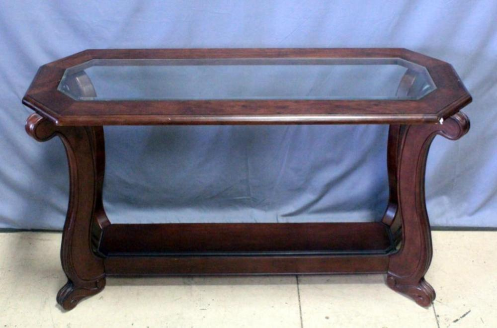 Console Entry Table With Scroll Base And Beveled Glass Top 52 W X