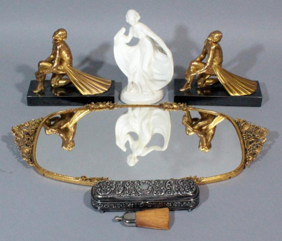 Lot 155 Of 256 Mirrored Vanity Tray 19 L Wil Trinket Dish Kneeling Women With Books On Metal Base Bookends Art Deco Woman In Dress Ceramic