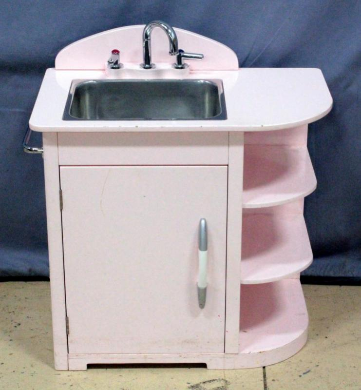 Lot 203 Of 256 Pottery Barn Kids Petal Pink Retro Style Stainless Steel Kitchen Sink Holds Water Removes Easily For Cleaning 25 5 W X 24 H 16 D