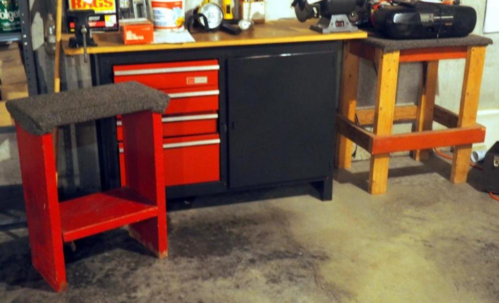 Lot 117 Of 161: Craftsman Work Bench With 4 Drawers And Cabinet, Includes  Hand Tools, Stud Finder, Dremmel, Soldering Iron, Stool And Side Table