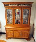 "Lighted Oak Hutch With Leaded Beveled Glass, 76""H x 54""W x 18.5""D, Contents Not Included"