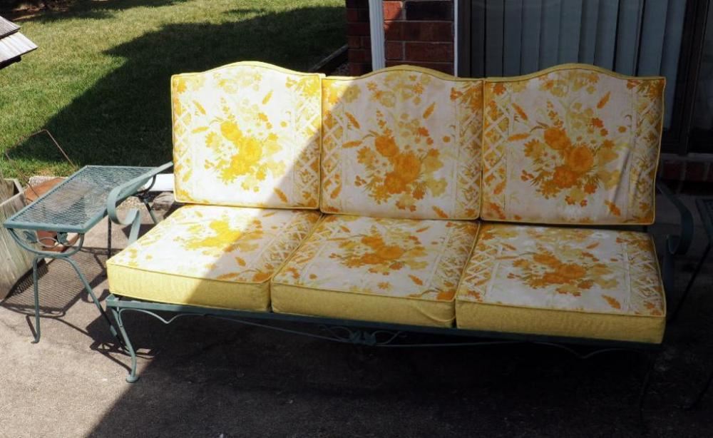 Wrought Iron Patio Sofa 32 H X 71 L D With Vintage