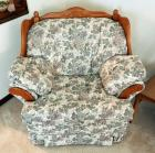 "Upholstered Over Sized Chair With Solid Wood Trim, 38""H x 43""W x 35""D, Matches Lot 14 And 15"