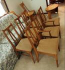 Vintage Dining Chairs With Upholstered Seats, Qty 6, One Chair Leg Damaged