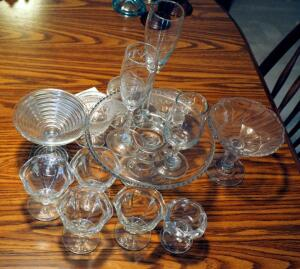 Assorted Glass, Includes Pedestal Cake Stand, Ice Creams And More, Total Qty 14