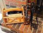 Wrought Iron Fire Place Tools, Magazine Rack And More