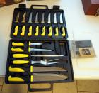 Stanley Carving Set Complete With Cutting Board And Travel Case And Buck Sharpening Stone And Oil