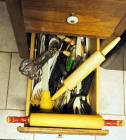 Rolling Pin, Spatulas, Hand Mixer, Mixing Spoons And More, Contents Of Bottom Drawer