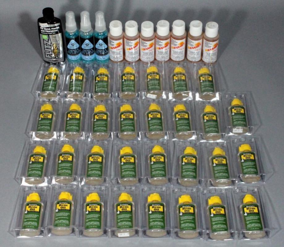 Assorted Gun Cleaning Supplies- Remington REM Oil (31), Barnes CR-10