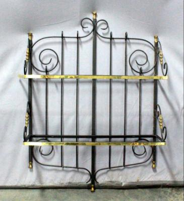 "Two-Tier Metal Scroll Wall Shelf with Glass Shelf Inserts, 34""W x 49""H x 11""D"