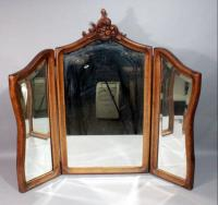 "Antique Beveled Glass Tri-Fold Mirror with Ornate Carved Finial, 20"" x 36"" Center Section, 10"" x 28"" Side Sections"