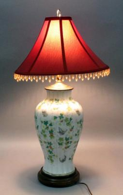"Oriental Style Table Lamp with Floral Design on White Ceramic, 28""H"