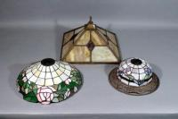 "Stained Glass / Tiffany Style Lamp Light Shades, Qty 3, 11""Dia Purple Flowers w/ Metal Rim, 13.3"" Pink Flower Shade, & 14"" x 14"" Red Diamond Shade"