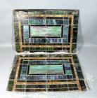 "Pair of Stained Glass Windows, Qty 2, 23.5""W x 33"", One Pane Has Displaced Corner"