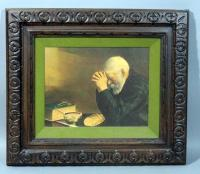 """Grace No 9136"" Daily Bread Man Praying at Dinner Table Print, 21.5""W x 20""H"
