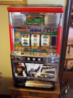 "Sammy 15 + Big Chance Wrangler Dale Earnhardt Nascar Front Slot Machine, Made In Japan, Turns On But Reads Error Code E1, 32"" x 19' x 15"", No Key"
