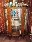 "Antique, Curved Glass, Curio Cabinet, With Carved Cherubs And Claw Feet, 72"" x 48"" x 20"", Includes Key However Contents Not Included"