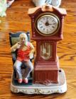 "Waco Melody In Motion, Hand Painted Porcelain, Battery Powered, Animated Music Box ""Grandfather Time"", 15"" Tall"