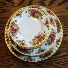Royal Albert English Bone China, Old Country Roses Pattern, Place Setting For 8, Including Saucer, Salad And Dinner Plates Total 24 Pieces
