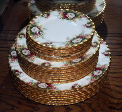 Royal Albert English Bone China, Celebration Pattern, 8 place settings, Saucer, Salad And Dinner Plates 24 Pieces Total