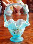 "Fenton, Charleston Collection 2002, Blue Topaz Satin 9.5"" Basket With Cloud White Edge And Hand Painted Decoration"