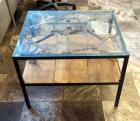 "Custom Welded Scrap Metal Side Table With Glass Top And Shelf 22""H x 29""W X 24""D"