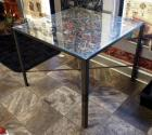 "Custom Welded Scrap Metal Kitchen Table With Glass Top 29"" x 36.75"" x 36.5"""
