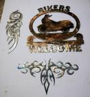"Plasma Cut Steel Wall Art, Welcome Bikers Signs Qty 3, 18.5"" x 18"" And Tribal Cut Outs"