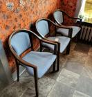 Wood And Upholstered Reception Chairs Qty 3