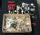 Large Assortment Costume Jewelry, Watches, Bracelets, Tie Bars, Lighters, Thimbles And More,Good Jewelry Repair Lot, Contents Of Box
