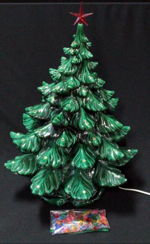 Vintage Ceramic Lighted Music Box Christmas Tree With Plastic Bulbs