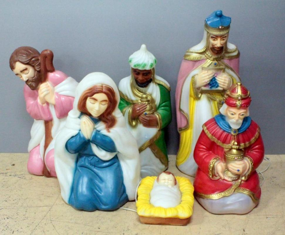 Christmas Nativity Set Outdoor.Outdoor Lighted Christmas Nativity Scene Set Jesus Mary