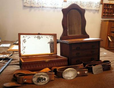 Mirror Wood Jewelry Boxes Including Contents And Western Leather Belts With Buckles