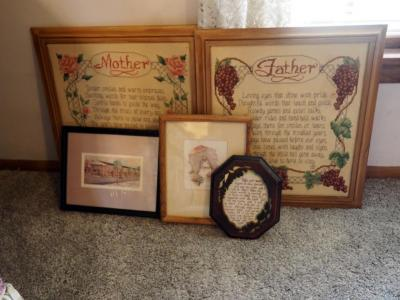 "Wood Framed "" Mother"", ""Father"" And French Quarter Prints Total Of 5 Pieces"