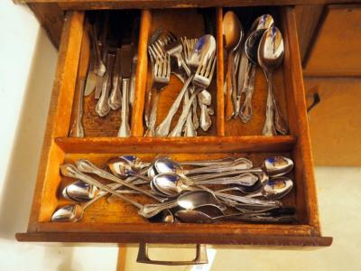 Stainless Flatware, Assorted Junk Drawer, Plastic Food Storage Containers And More