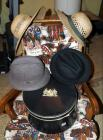 Straw Hats, Qty 2 And Wool Fedoras, Qty 2 With A Vintage Hat Box