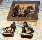 Wood Framed Horse Photograph And Ceramic Book Ends