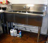 "Stainless Steel 3-Basin Sink 44""H x 53""w x 26""D, Bidder Responsible For Proper Removal"