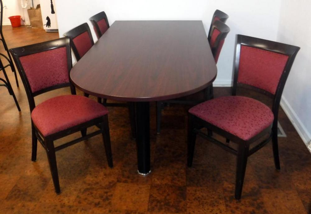 Lot 13 Of 57 Wall Hugging Dining Table 30H X 30W 71D Seats 6 With Upholstered Chairs Qty