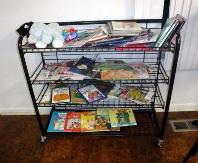 "Wire Book Rack On Wheels 36"" x 48"" x 15"", Includes Children's Books And Magazines"