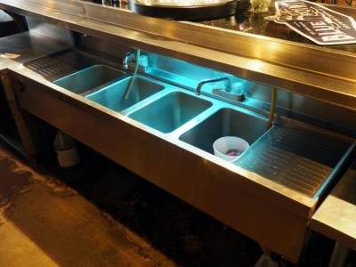 "Stainless Steel 4 Basin Sink With 2 Faucets, 32"" x 71"" x 22"", Bidder Responsible For Proper Removal"
