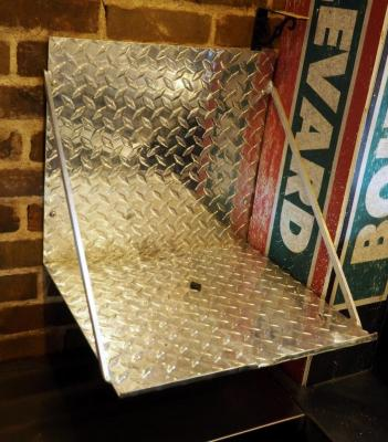 "Diamond Plate Aluminium Shelf, 16"" x 16"" And Stainless Steel Shelf 32"" x 12"", Bidder Responsible For Proper Removal"