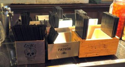 Napkin And Straw Dispensers With Liquor Logos, Qty 9