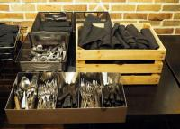 Hightower Superior Restaurant Flatware, Including Pizza Spatulas, Knives, Forks And More, Approx Qty 70 With Wood Crate, 5 Slot & 3 Slot Flatware Bins
