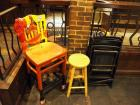 "45"" High Back Bar Stool With Custom Chiefs Paint And Foot Ball, Wood Stool 24"" x 12"" Round And 3 Wood Folding Chairs"
