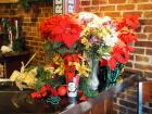Christmas Decorations Wreaths Qty 6, Artificial Poinsettias, Artificial Garland, String Lights, Bulbs And More