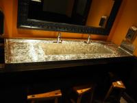 "Custom Stainless Steel Sink With Faucets, 86"" x 23"", Mounted To Wall, Bidder Responsible For Proper Removal"