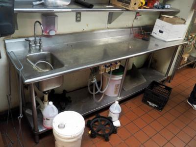 "Stainless Steel Table With Hand Sink And Goose Neck Faucet With 1 Shelf, 36"" x 108"" x 25"", Bidder Responsible For Proper Removal"
